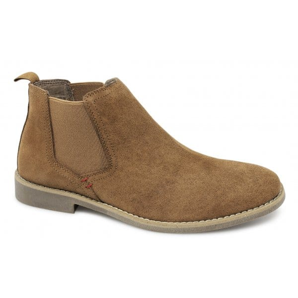 Front-AFARI-Mens-Suede-Leather-Low-Cut-Slip-On-Ankle-Chelsea-Boots-Camel-Brown