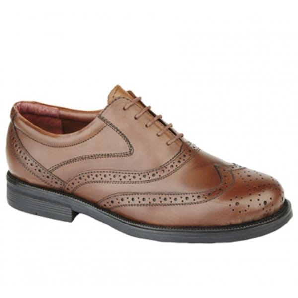 Mens-Soft-Leather-Wingtip-Oxford-Padded-Lace-Up-Formal-Office-Brogue-Shoes-Brown