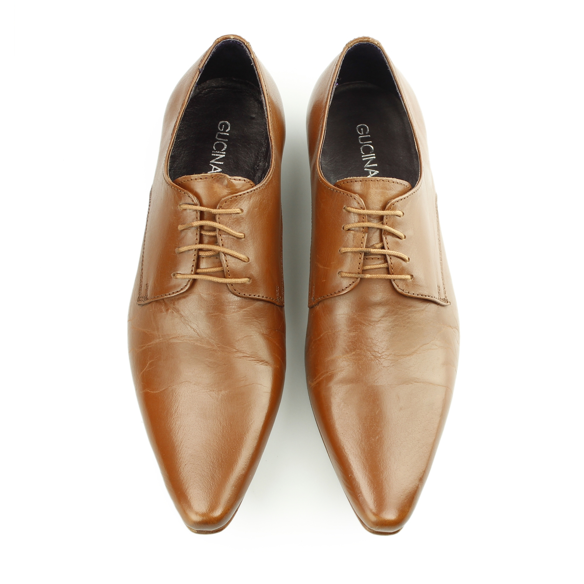 Gucinari Mens Leather Lace Up Pointed Toe Office