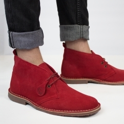 COLOUR Unisex Suede Desert Boots Chilli Red