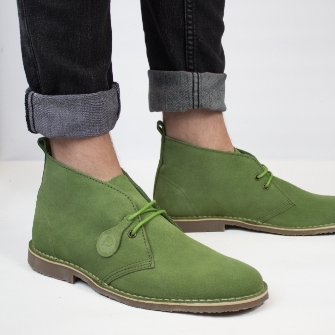 Popps COLOUR Unisex Suede Desert Boots Forest Green