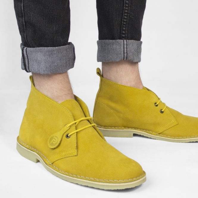Popps COLOUR Unisex Suede Desert Boots Mustard Yellow