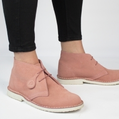 PASTEL Ladies Suede Casual Desert Boots Dusty Pink