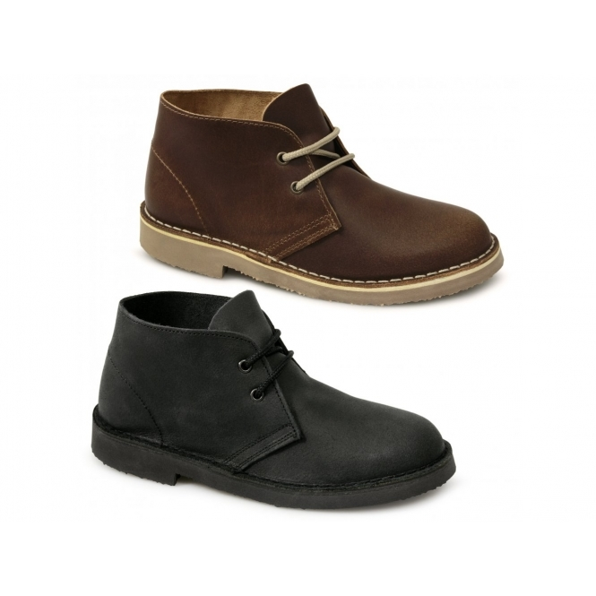 Roamers Mens Womens Las Leather Desert Boots Brown Desertboots