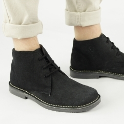 LEONARD Mens Black Suede