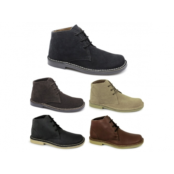 LEONARD Mens Square Toe Suede Leather Desert Boots Black
