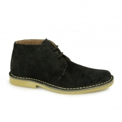 Mens 2 Eye Shaped Toe Suede Leather Desert Boots Black