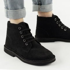Mens 5 Eyelet Suede Leather Desert Boots Black