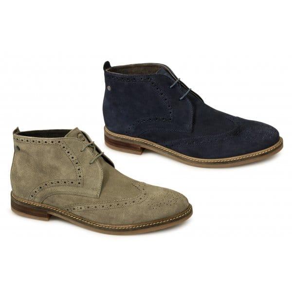 Base London SEVILLE Mens Brogue Chukka Taupe   Buy At Desert Boots.com